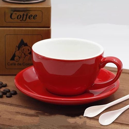 Latte Coffee Cup 300Ml European-Style Ceramic Thickened American-Style Professional Latte Art Coffee Cup & Saucer Set