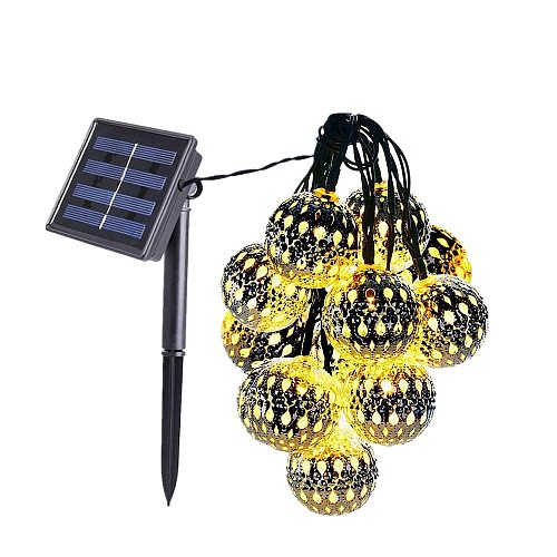 Outdoors Waterproof  Solar String Light 5m 20leds hollow ball Lamp for Gardens Wedding Party Valentines Christmas Tree Homes