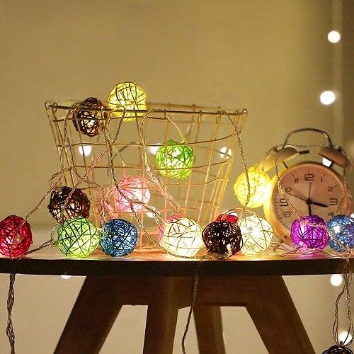 20 Rattan Balls LED String Lights Battery Garland Cotton Ball Light Chain Guirlande Lumineuse Holiday Christmas Lights Balls
