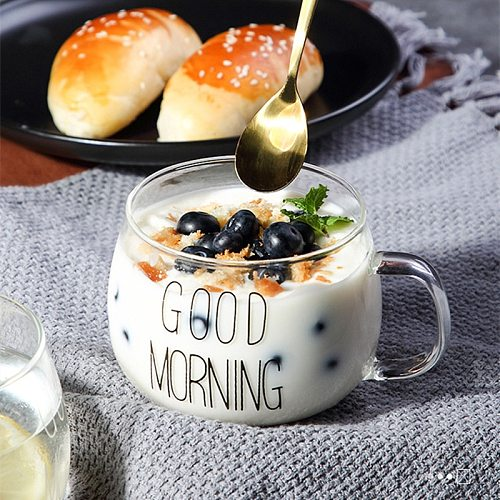Letter Printed Transparent Creative Glass Coffee Tea Drinks Dessert Breakfast Milk Cup Glass Mugs Handle Drinkware