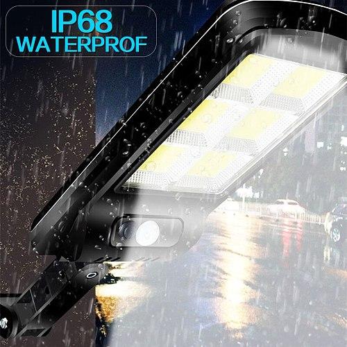 300W Remote Control COB Solar Light PIR Motion Sensor Outdoor Solar Wall Street Light Garden IP65 Waterproof Lamp