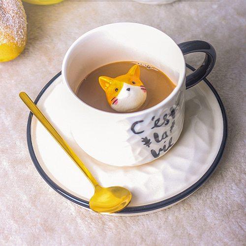 Cartoon relief ceramic cup small animal Mug cat coffee cup with cup dish household milk cup coffee mug mug mugs coffee cups