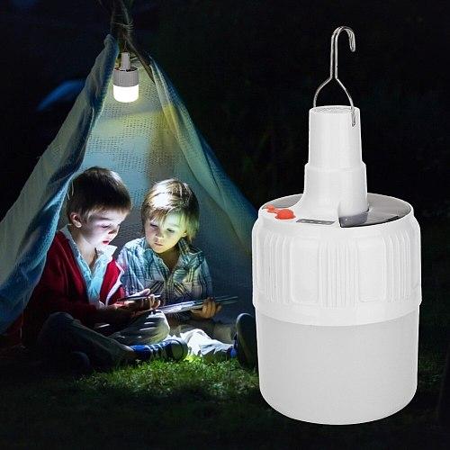 Emergency Night Market Light Solar USB Rechargeable LED Bulb Lamp Camping Lamp Handheld Spotlight Lantern Flashlight