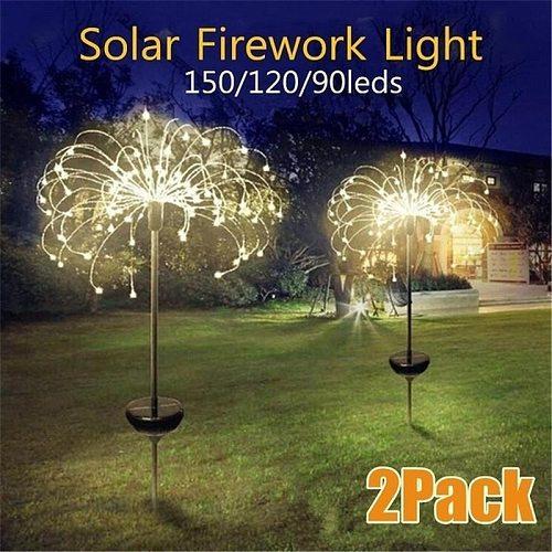 Solar Powered Outdoor  Grass Globe Dandelion Lamp 90/120/150 LED For Garden Lawn Landscape Lamp Holiday Light
