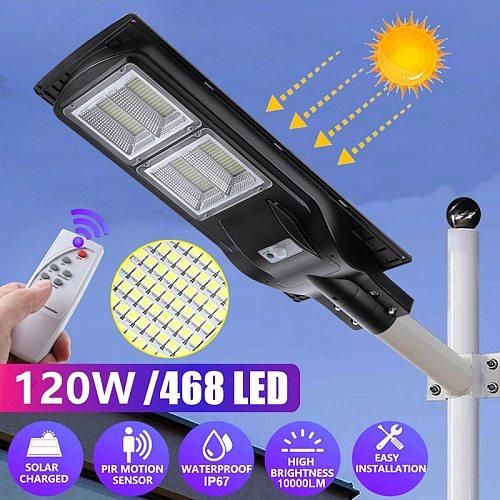 Solar Street Light with Pole Garden Wall Lights Outdoor Lighting Remote Control PIR Motion Sensor Lamps 480W 240W LED Waterproof