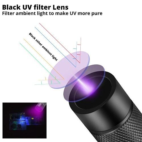 Powerful Super Bright led UV flashlight 18650 uv torch scorpion ultra violet light ultraviolet light Upgrade UV lamp beads