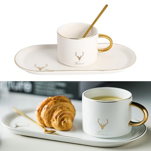 Ceramic Tableware Breakfast Coffee Cup Set inlcuding Saucer Tray and Spoon, Nordic Style