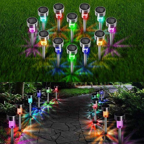 LED Solar Light Stainless Steel Lawn Lamp Landscape Path Lights Garden Waterproof For Patio Yard Path Walkway Decor Solar Lamp