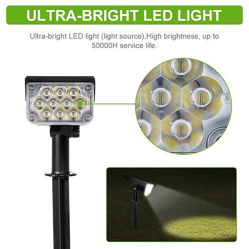 LITOM 1/2/4 PCS 20 LED Solar Spotlight 3 Lighting Modes White Lighting Solar Garden Light IP65 Waterproof 6000K Super Bright