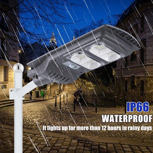 AUGIENB 150W/300W/450W 420LED Solar Street Light Waterproof PIR Motion Sensor + Remote Control Outdoor Lighting Security Lamp