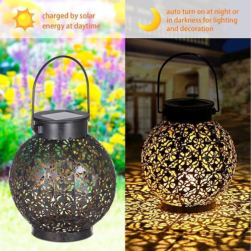 Tomshine Outdoor Solar Lantern Light Hollowed-out Design Decorative Metal Hanging LED solar light IP44 solar garden light