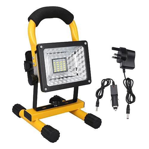 30W LED Portable Rechargeable Floodlight Waterproof Spotlight Battery Powered Searchlight Outdoor Work Lamp Camping