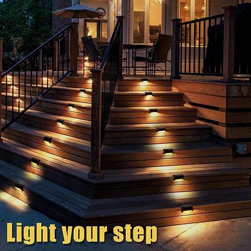 4/8/12/16PCS LED Solar Lamp Path Stair Outdoor Waterproof Wall Light Garden Landscape Step Stair Deck Lights Fence Solar Light