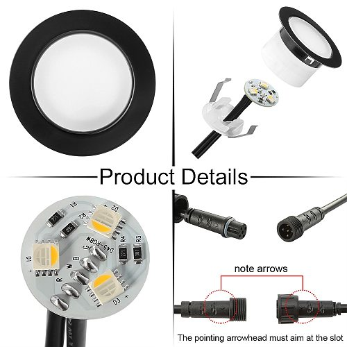 15pcs/lot Black WIFI App RF Remote Controller Timer 45mm 12V IP67 5pin RGBW Terrace LED Deck Stair Soffit Step Ingrond Up Lights