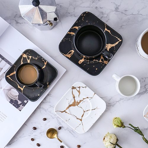 Marble coffee cup, Japanese black and white cup and saucer box. Glass coffee cup, coffee set gold coffee cup mug
