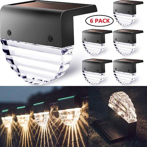 4/6 PCS LED Solar Deck Lights Outdoor Waterproof Warm White Color Changing Lighting LED Solar Fence Lamp Step Solar Step Light