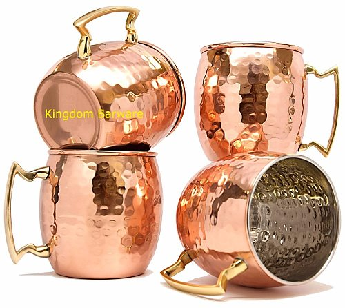 4PCS Copper Plated Barrel Hammered Moscow Mule Mug Coffee Cup Beer Cup Set of 4
