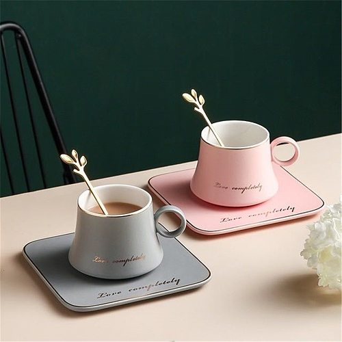 3PCS Ceramic Coffee Cup And Saucer Set European Style Light Luxury Gold Afternoon Tea Milk Juice Breakfast Cup Saucer Spoon Gift