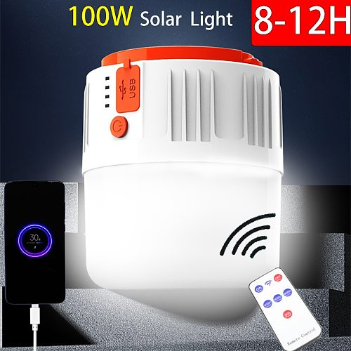 LED Camping Light Solar USB Camping Lantern Waterprof Voice And Remote Control Rechargeable Portable Solar Lamp For Tent Hiking