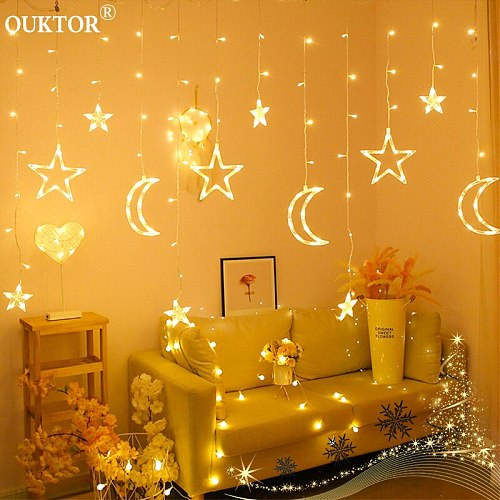 3.5M Curtain Lights Christmas Led String Fairy Lights Moon Star Garlands Lamp 100-240V for Wedding Holiday Party Decoration
