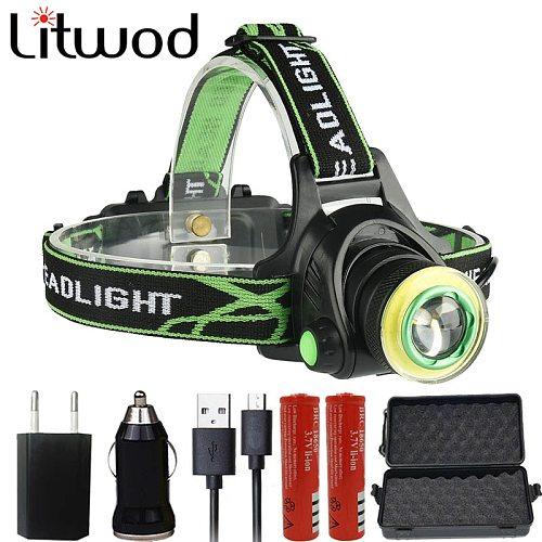 Litwod Z20 CREE XM-L2 T6 COB 10000LM Led Headlamp Headlight Micro USB Charger Head Lamp Portable Light Torch Lantern