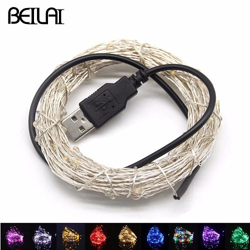 5V USB LED String Lights Fairy 20M 10M 5M 2M Silver Wire Waterproof For Garland Home Christmas Wedding Party Decoration