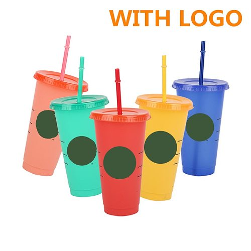 700ml/473ml Straw Cup With Lid With Logo Color Change Coffee Cup Reusable Cups Plastic Tumbler Matte Finish Reusable Plastic Cup