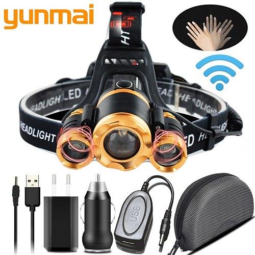 z24   Sensor LED Headlamp Zoomable T6 Head Flashlight Torch Rechargeable Light Forehead Lamp Fishing Headlight 18650 Battery