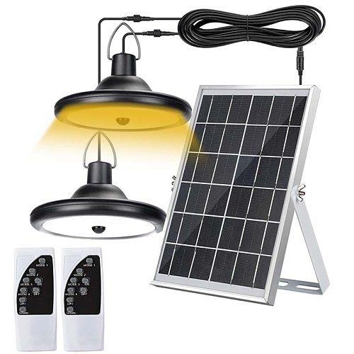 Solar Pendant Light Outdoor Indoor Motion Sensor with Dual Lamp  Remote Control Waterproof LED Hanging Shed Light for Home Porch