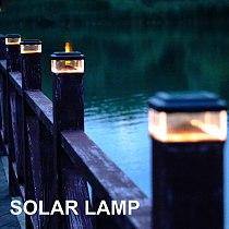 LED Spot Light Garden Path Landscape Lights Waterproof 8 LED Solar Pillar Lamp Outdoor Fence Courtyard Villas Column Light