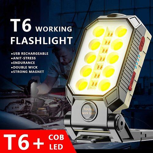 USB Rechargeable COB Work Light Portable LED Flashlight Adjustable Waterproof Camping Lantern Magnet 20W/30W High Power Lamp
