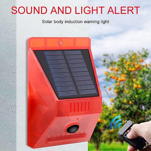 Solar Sound Alert Flash Warning Sound Light Alarm Motion Sensor 129db Decibels Siren Strobe Security Light Alarm System For Farm