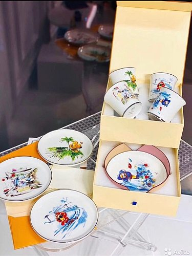 Ceramic & Porcelain Cups & Saucers Set With Gift Box 8 Pieces Kitchen Tableware/Drinking Utensils For Coffee Milk Tea Water Use
