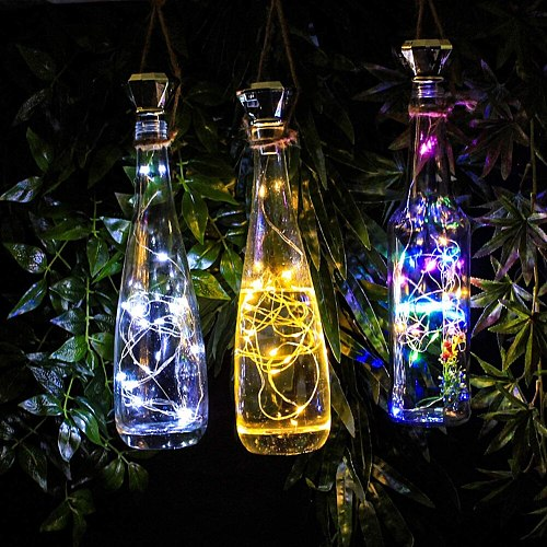 8 Pack Solar Wine Bottle Cork Lights, 2M 20 LEDs Copper Wire Fairy Garland String Lights for Xmas Wedding Party Art Decor Lamp