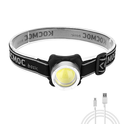 USB Rechargeable Headlight COB LED Headlamp Portable Head Torch White Red Flashlight Camping Lamp Bicycle Light Built-in Battery