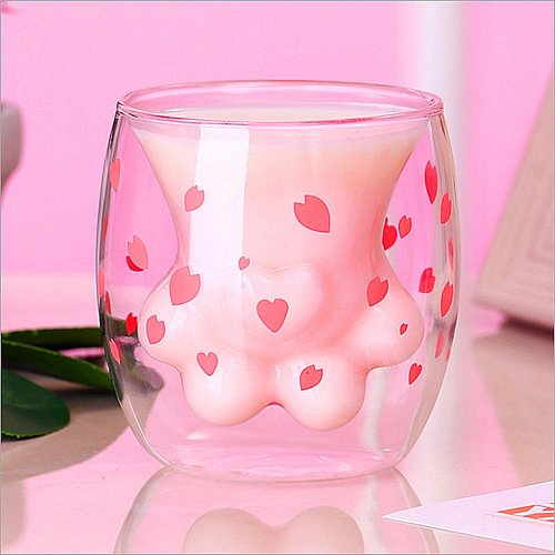 Cat Claw Cup Milk Mug Heat-resistant Double Wall Glass Cup Coffee Mug Handmade Whiskey Glass Cup