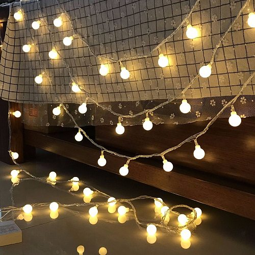3M/6M/10M Ball LED String Light 20LED 40LED 80LED Chain Fairy Lights Holiday Christmas Wedding Outdoor Decor Battery Operated