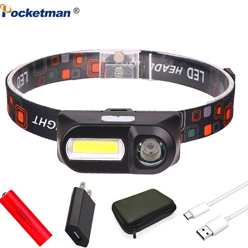 Portable LED Headlamp USB Rechargeable XPE+COB Camping Waterproof Head lamp Fishing headlight flashlight torch Use 18650