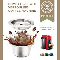 2 way use/CAPSULONE reusable Coffee capsule pod  fit For Nespresso Vertuo Vertuoline  metal Stainless Steel Refillable  Capsule