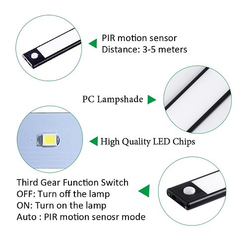 PIR motion Sensor 20/40CM Magnet installation USB chargeable Powered LED Kitchen Light  Lamp for Cabinet Wardrobes Closet