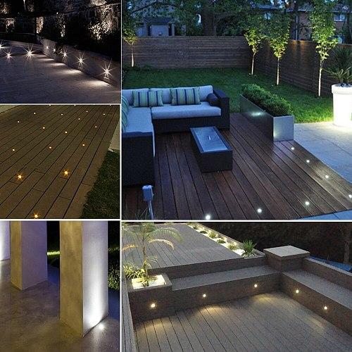 LED Deck Light 1W Underground Lamp Outdoor Garden Buried Light IP67 Terrace Floor Light Landscape Step Pathway Ground Light 12V