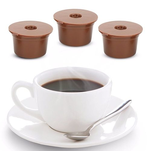 3pcs Reusable Refillable Coffee Capsule Filter Cup Brush Spoon Kit Accessory For Caffitaly Coffee Machine Supplies Coffee Filter