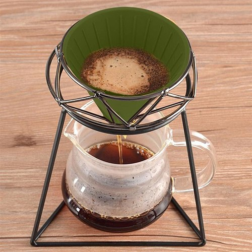 Manual Pour Over Drip Coffee Filter Cup Bracket Tea Leaf Stand Rack Reusable Silica Gel Hand-washed Coffee Filter Cup Holder