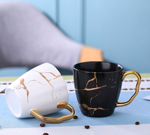 Nordic light luxurious golden marble coffee matte ceramic cup Asian coffee mug golden coffee mug