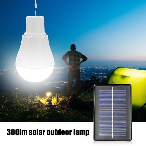 1pc 5V 15W 300LM Outdoor Solar Lamp USB Rechargable Led Bulb Portable Solar Power Panel Outdoor Lighting Camping Tent Solar Lamp