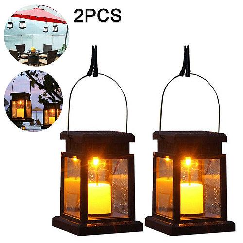 2pcs Solar Candle Hanging Lamp Outdoor LED Light Waterproof Flame Lamp Garden Tree Decor Solar Powered Hanging Candle Lantern