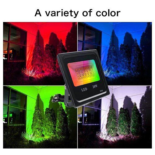 RGB Led Floodlight 20W Smart Flood Lights RGB Garden Spotlight Stage Waterproof Garden Lighting RGB Flood Light Home Decor