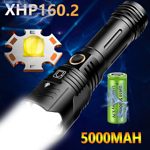 Drop shipping 5000mAh XHP160.2 XHP50.2 Powerful Flashlight 5Modes USB Rechargeable Waterproof IPX6 Zoom Torch Use 26650 Battery