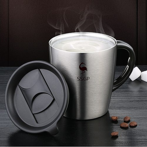 Stainless Steel Mug With Cover Lid Frankfurt Coffee Thermos Cup 330mL