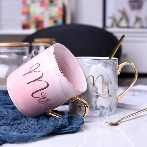 Nordic Marbling Gold Depicting Ceramic Cup Boys and Girls Trend Mug Lovers Cup Large Capacity Coffee Cup with Spoon Mug